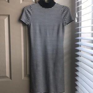 Striped Stretch Viscose Mock-Neck Dress